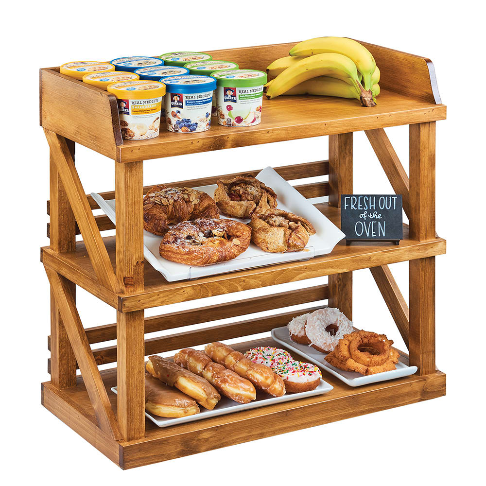 """Cal-Mil 3637-99 3 Tier Display Stand - 24""""W x 12.25""""D x 24""""H, Reclaimed Wood"""