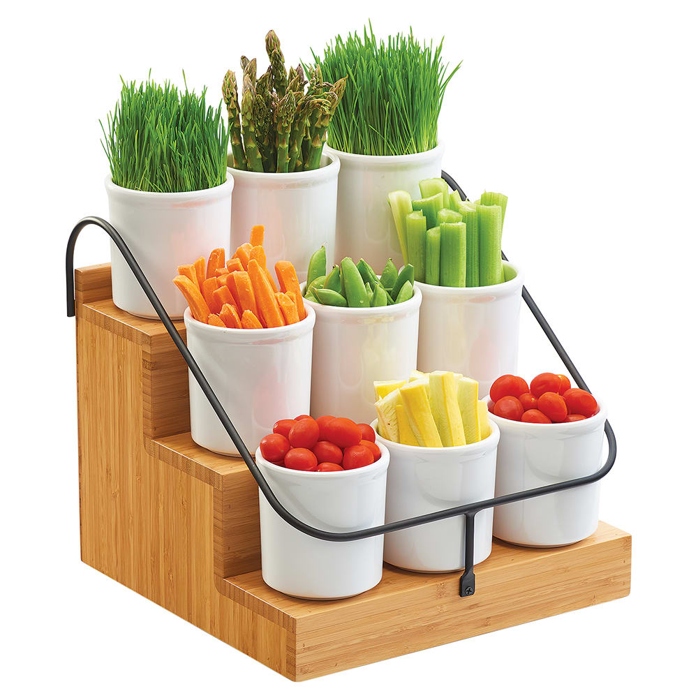 Cal-Mil 3638-60 Condiment Station w/ (3) Tiers - Black Wire Frame, Bamboo