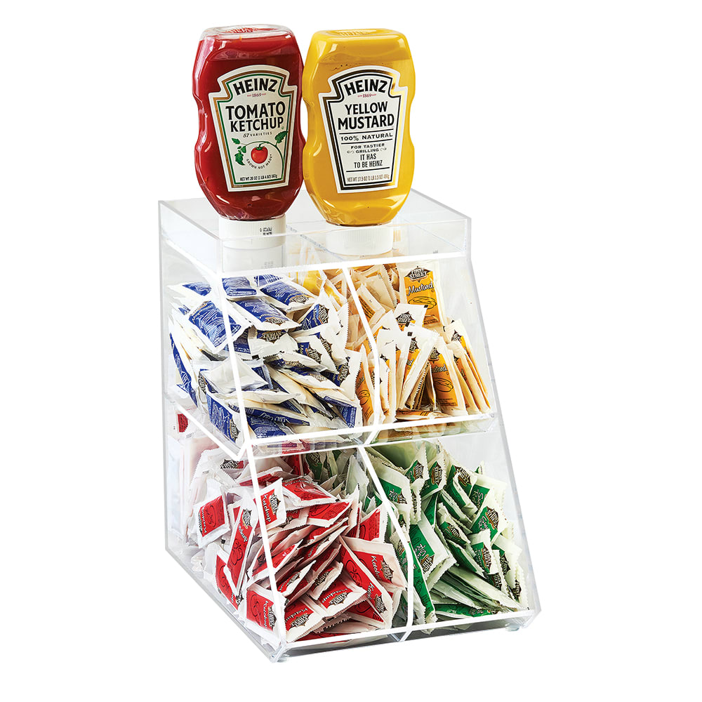 Cal-Mil 3643-4 Condiment Station w/ (4) Sections - Plastic, Clear