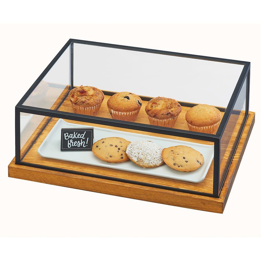 """Cal-Mil 3648-1520-99 Pastry Presentation Case w/ Lift-Off Lid - 20""""W x 15""""D x 8""""H, Metal/Reclaimed Wood"""