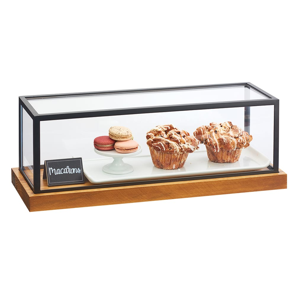 "Cal-Mil 3648-822-99 Pastry Presentation Case w/ Lift-Off Lid - 20""W x 8""D x 7.75""H, Metal/Reclaimed Wood"