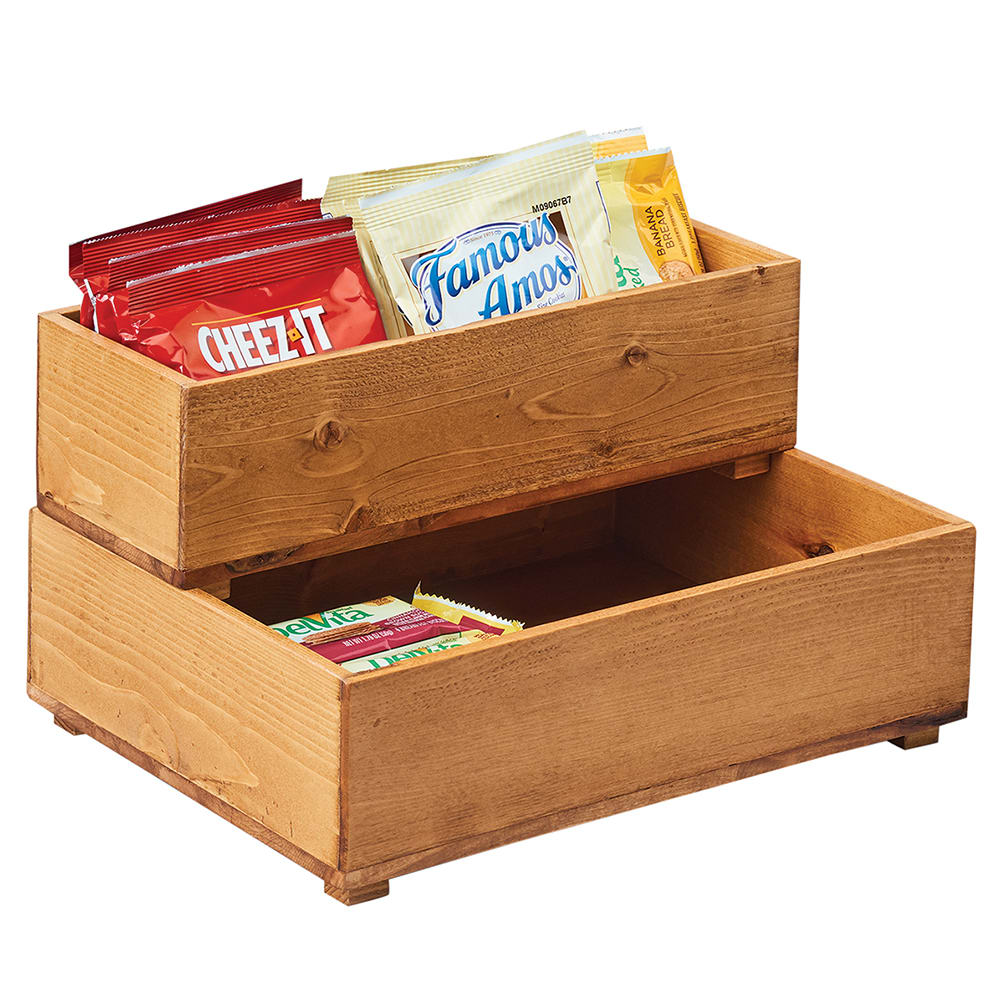 "Cal-Mil 3682-55-99 5"" Square Stacking Display Bin - 3.25""H, Reclaimed Wood"