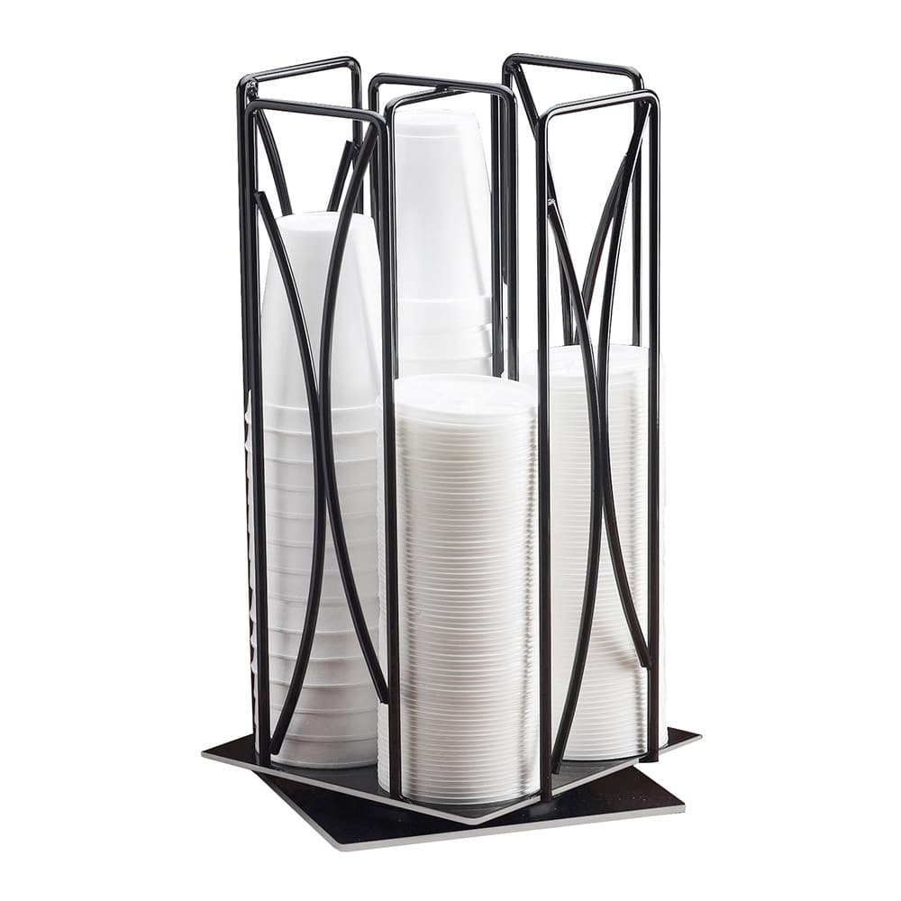 "Cal-Mil 369 Revolving Cup & Lid Organizer w/ 4-Slots for 4"" Diam Lids, Black"