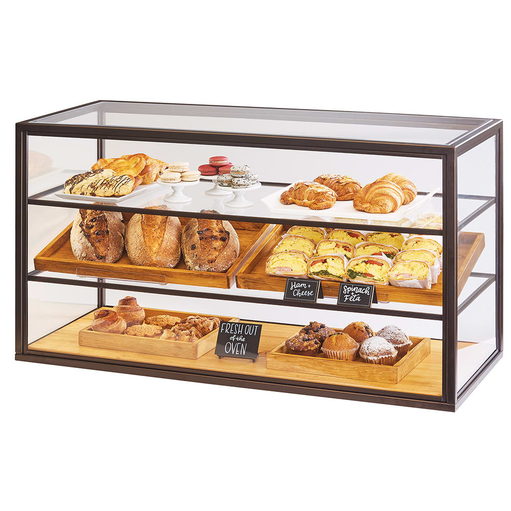Cal-Mil 3695-84 3 Tier Full-Service Pastry Display Case w/ Sliding Doors - Bronze Frame, Acrylic