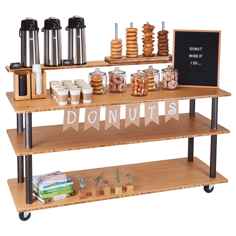 """Cal-Mil 3698-60 72"""" Beverage Service Cart w/ (3) Levels, Bamboo"""