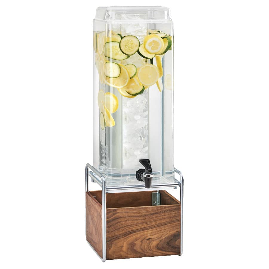 Cal-Mil 3703-3-49 3-gal Beverage Dispenser w/ Ice Chamber - Plastic w/ Walnut & Chrome Base