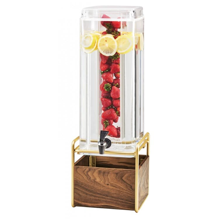 Cal-Mil 3703-3INF-46 3 gal Beverage Dispenser w/ Infusion Chamber - Plastic w/ Walnut & Brass Base