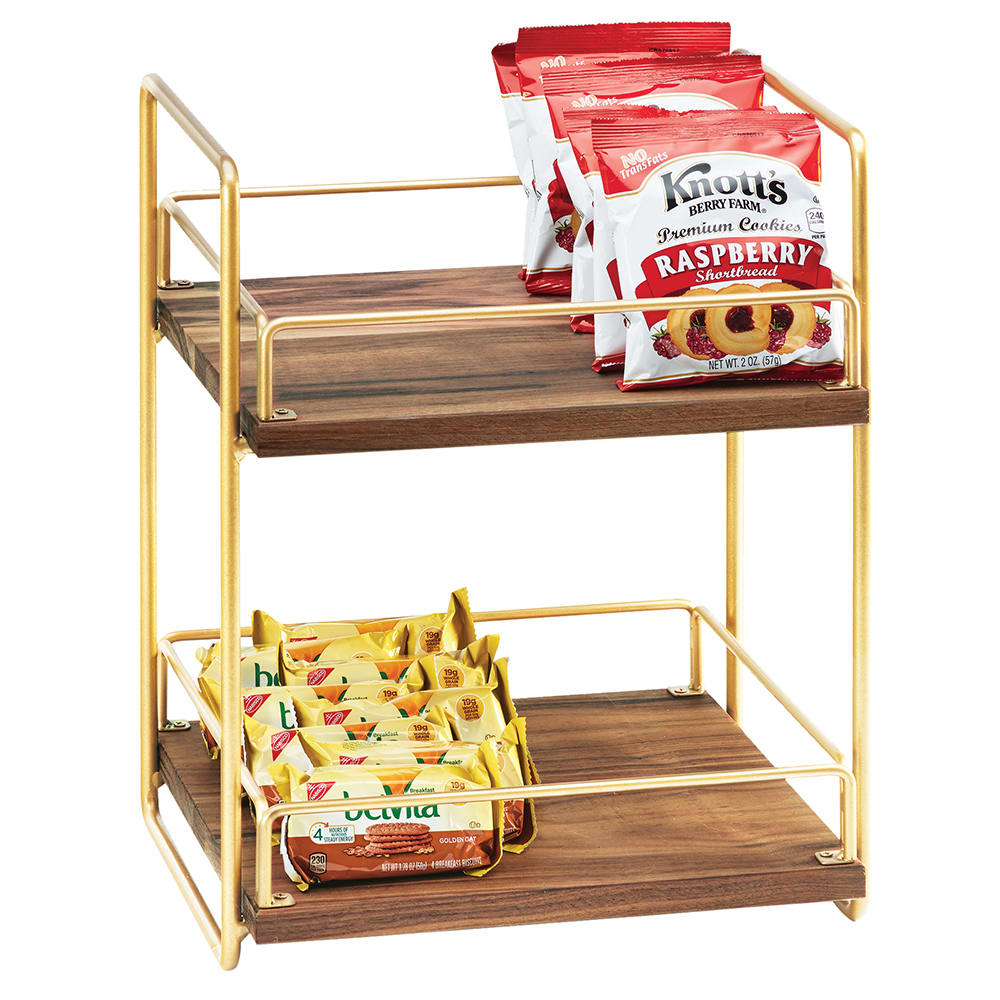 "Cal-Mil 3704-2-46 2 Tier Display Stand w/ Adjustable Wood Shelves - 13""W x 12""D x 16.5""H, Brass"