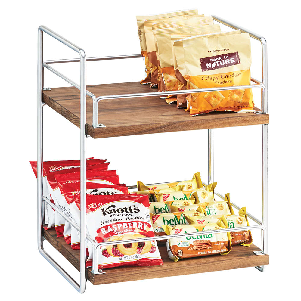 "Cal-Mil 3704-2-49 2 Tier Display Stand w/ Adjustable Wood Shelves - 13""W x 12""D x 16.5""H, Chrome"