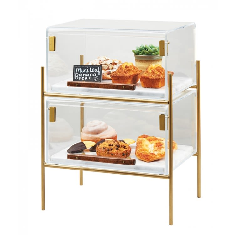 Cal-Mil 3706-1813-46 2 Tier Pastry Display w/ Hinged Doors - Brass Frame, Acrylic