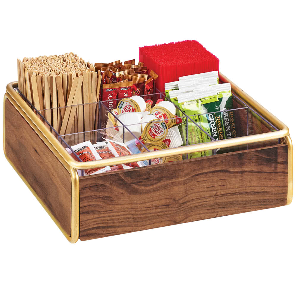 "Cal-Mil 3707-46 9 Compartment Condiment Organizer - 12"" x 12"" x 4.5"", Walnut/Brass"