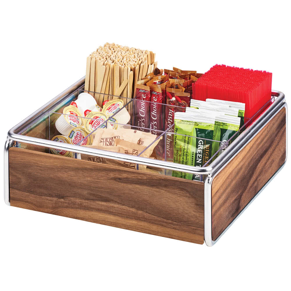 "Cal-Mil 3707-49 9-Compartment Condiment Organizer - 12"" x 12"" x 4.5"", Walnut/Chrome"