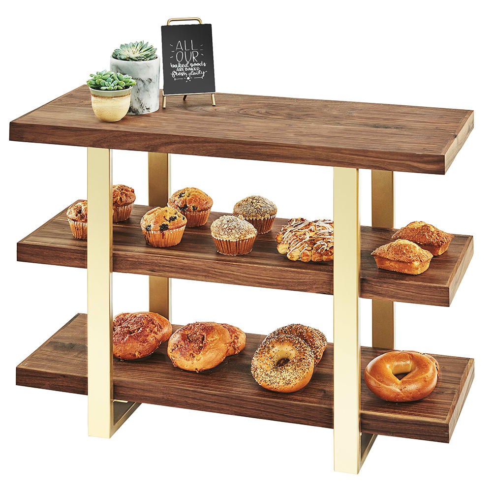 "Cal-Mil 3708-46 3 Tier Display Stand w/ Walnut Shelves - 32""W x 13.5""D x 25.5""H, Brass"