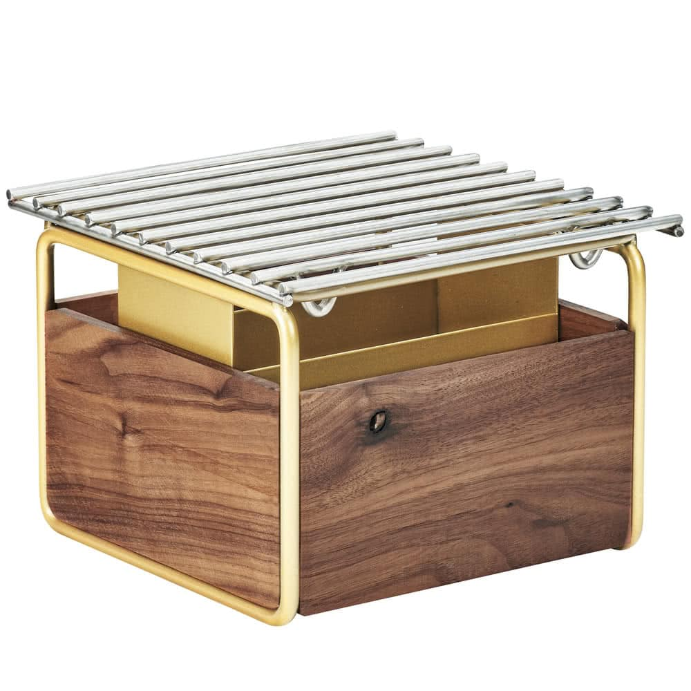"Cal-Mil 3711-46 12"" Square Chafer Grill w/ Fuel Holder, Walnut/Brass"