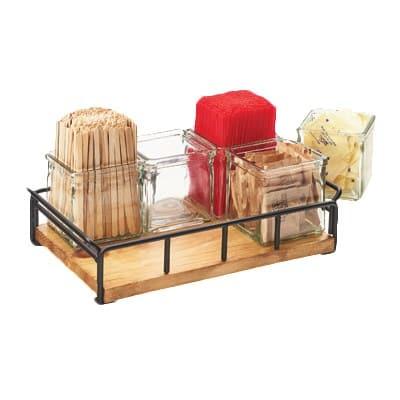 "Cal-Mil 3713-99 Condiment Jar Riser Set w/ (6) 4"" x 4"" Jars, Black/Reclaimed Wood"