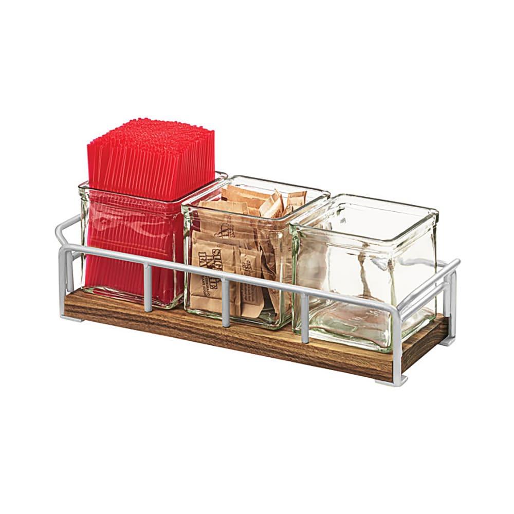 """Cal-Mil 3714-49 Condiment Jar Riser Set w/ (3) 4"""" x 4"""" Jars, Walnut/Chrome"""
