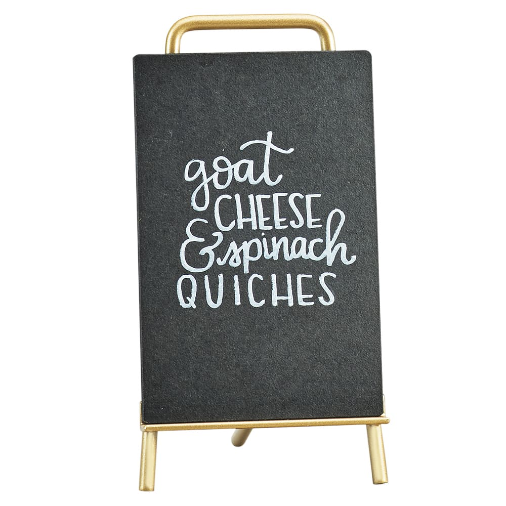 """Cal-Mil 3717-46-46 Tabletop Write-On Sign w/ Easel - 4"""" x 6"""", Brass"""