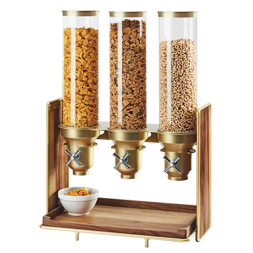 Cal-Mil 3720-46 Countertop Cereal Dispenser w/ (3) 4.5 liter Containers - Wood Stand, Walnut/Brass