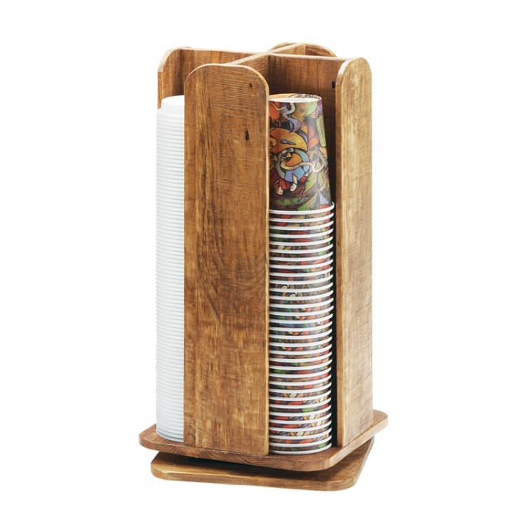 """Cal-Mil 378-99 Revolving Cup & Lid Organizer w/ (4) 3.75"""" Sections, Reclaimed Wood"""
