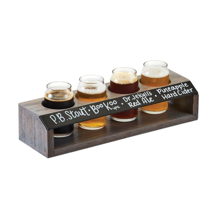 Cal-Mil 3824 4 Section Beer Taster Flight - Oak Wood, Ash Gray