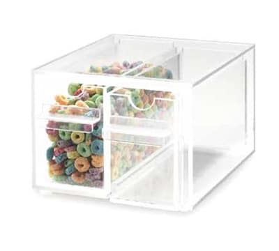 """Cal-Mil 385 Clear Topping Dispenser w/ 2-Notched Drawers, 7x8x5"""""""