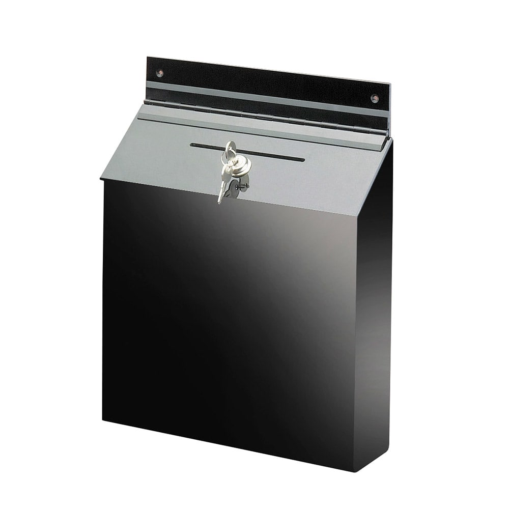 "Cal-Mil 388 Wall Mount Suggestion Box w/ Lock, 12 x 3.5 x 15"" High, Black"