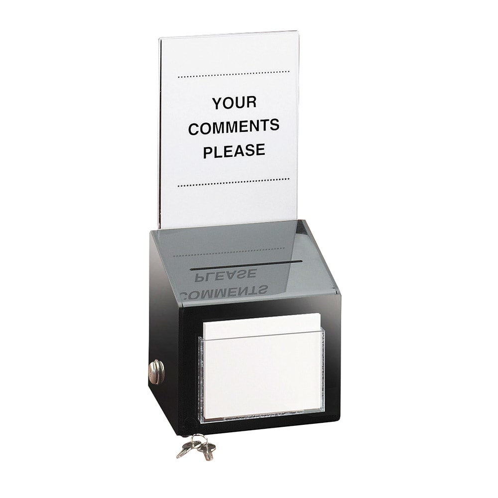 "Cal-Mil 390 Countertop Suggestion Box w/ Lock, 7 x 7 x 16"" High, Black"