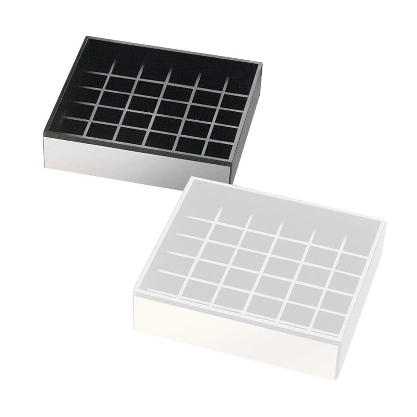 """Cal-Mil 392-10 4"""" Square Drip Tray, Black w/ Silver Trim"""