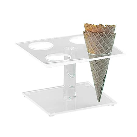 "Cal-Mil 396 Waffle Cone Pedestal w/ 4 Holes & 2"" Diam Hole Size, Clear"