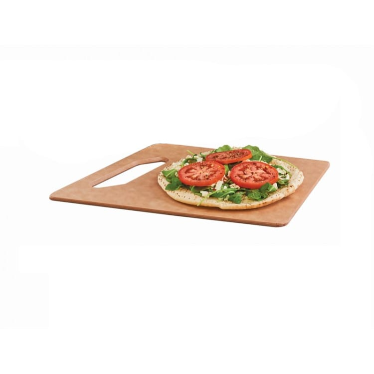 "Cal-Mil 4002-812-14 Rectangular Angled Serving Board w/ Handle - 12"" x 8"", Fiberesin, Natural"