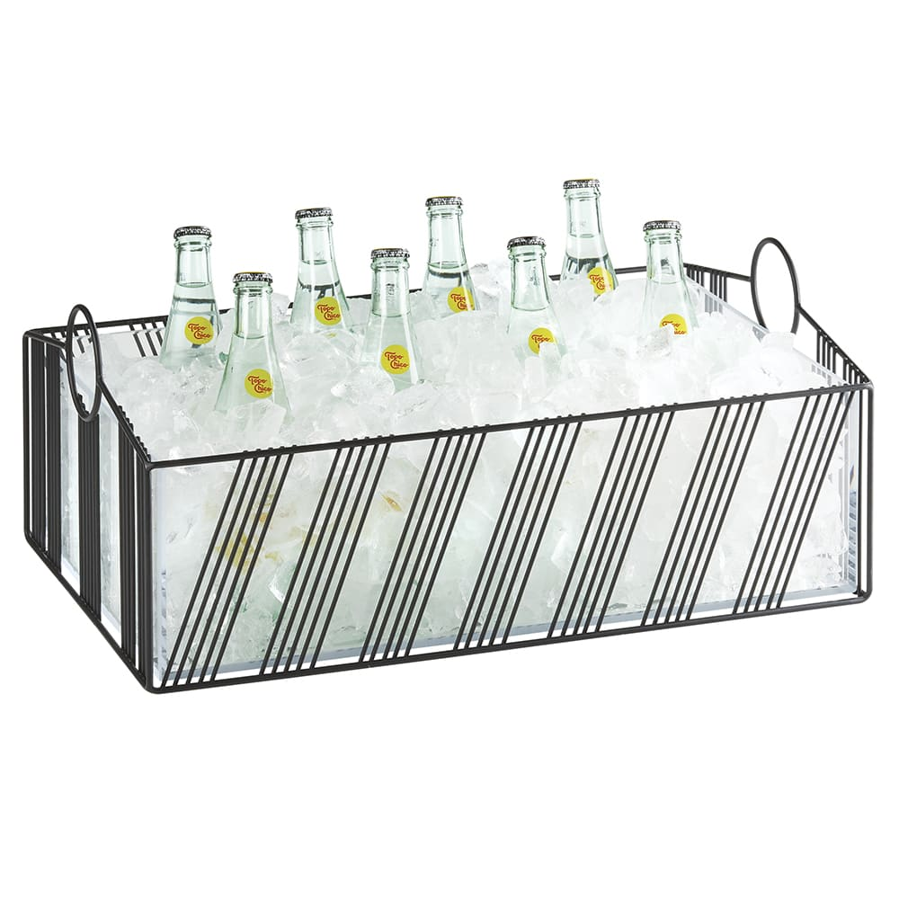 "Cal-Mil 41115-12-13 Ice Housing w/ Plastic Pan - 21""W x 13.25""D x 8.12""H, Wire, Black"