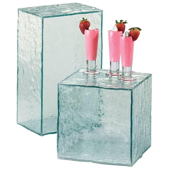 "Cal-Mil 432-13-43 Rectangular Buffet Riser - 13""W x 8""D x 6""H, Faux Glass, Aqua"
