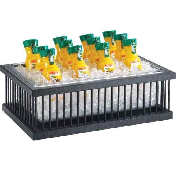 "Cal-Mil 451-18 Ice Housing w/ Clear Pan - 26""W x 18""D x 6""H - Plastic, Black"