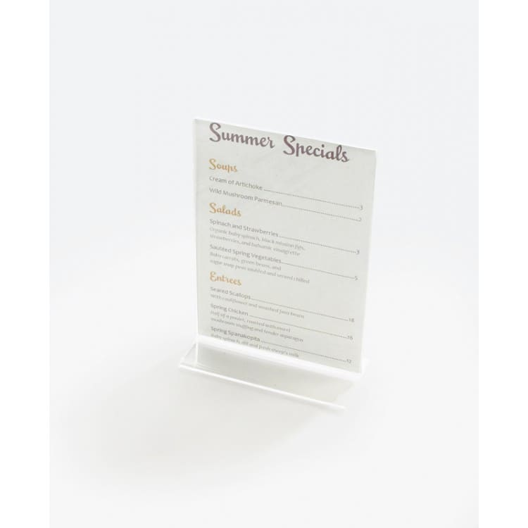"Cal-Mil 506 Tabletop Menu Card Holder - 4"" x 6"", Acrylic, Clear"