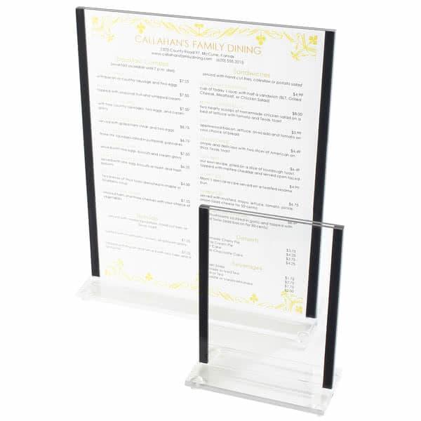 """Cal-Mil 536-13 Tabletop Menu Card Holder - 8.5"""" x 11"""", Acrylic, Clear"""