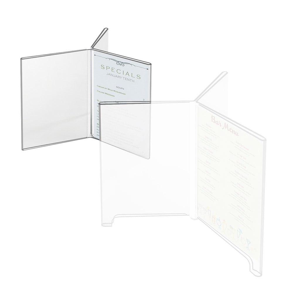 "Cal-Mil 575 Six-Sided Tabletop Menu Card Holder - 4"" x 6"", Acrylic"
