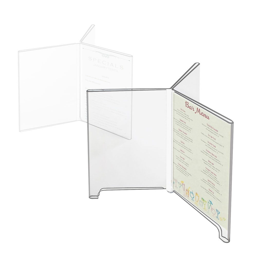 """Cal-Mil 576 Six-Sided Tabletop Menu Card Holder - 4"""" x 6"""", Footed, Acrylic"""