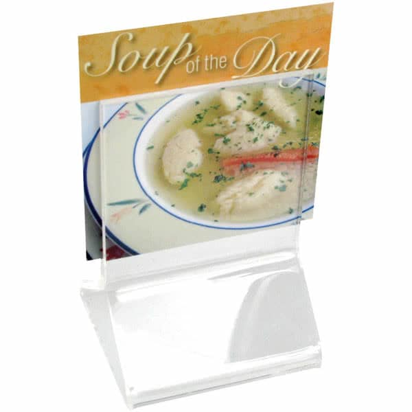 "Cal-Mil 591 Tabletop Menu Card Holder - 2.25"" x 2.25"", Acrylic, Clear"