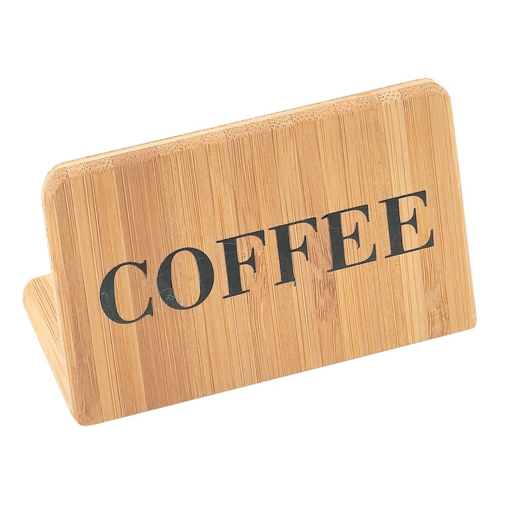 "Cal-Mil 606-1 ""Coffee"" Table Sign - 2"" x 3"", Bamboo"
