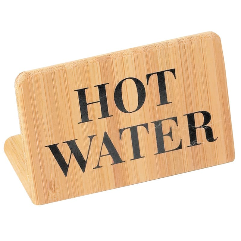 "Cal-Mil 606-3 ""Hot Water"" Table Sign - 2"" x 3"", Bamboo"