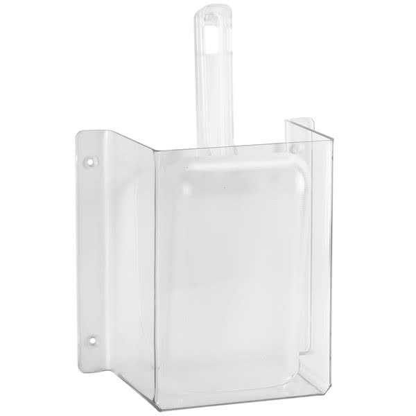 Cal-Mil 624 Wall-Mount Scoop Guard w/ 32 oz Scoop - Polycarbonate, Clear