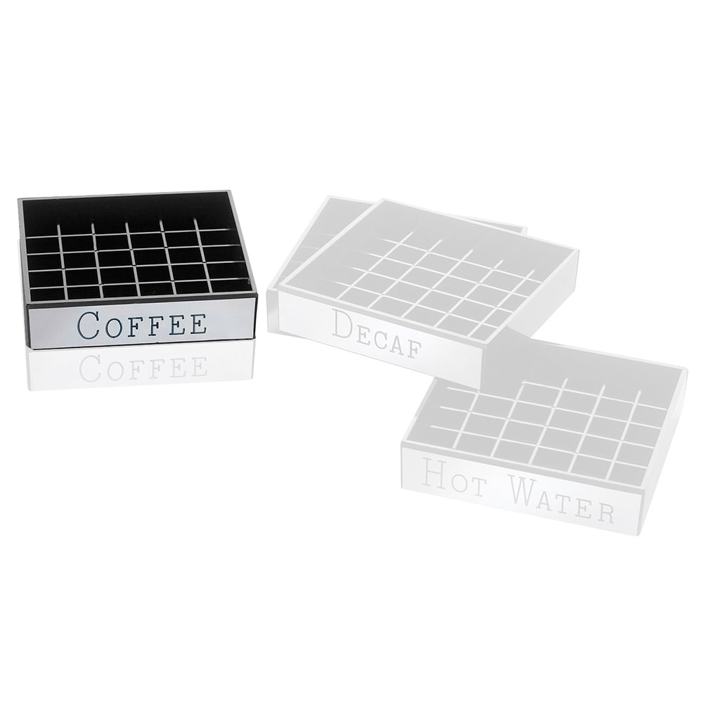 """Cal-Mil 632-1 4"""" Square Coffee Engraved Drip Tray, Black w/ Silver Trim"""