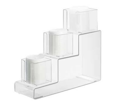 Cal-Mil 684 3-Step Lid Organizer w/ (2) 4-in & (1) 5-in Sections, Clear