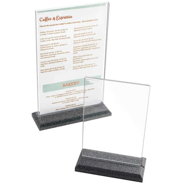 "Cal-Mil 695-17 Tabletop Menu Card Holder - 8.5"" x 11"", Black Pearl"