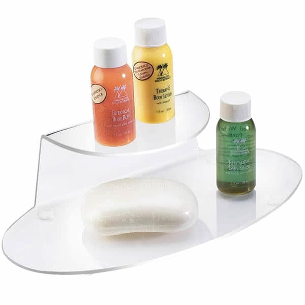 "Cal-Mil 809-12 2 Tier Hotel Amenity Display Tray - 9.75""W x 4.5""D x 2.5""H, Plastic, Clear"