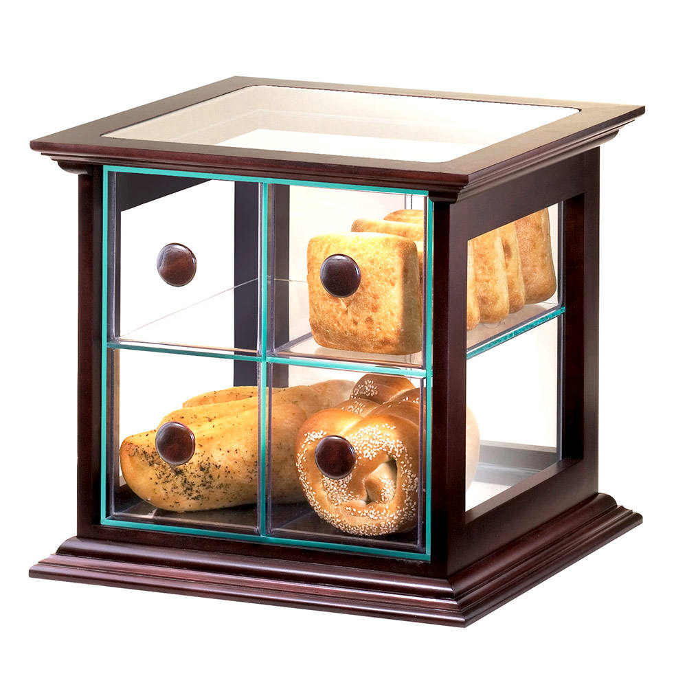 Cal-Mil 813-52 4 Drawer Bread Case w/ Wood Frame & Green Acrylic Body