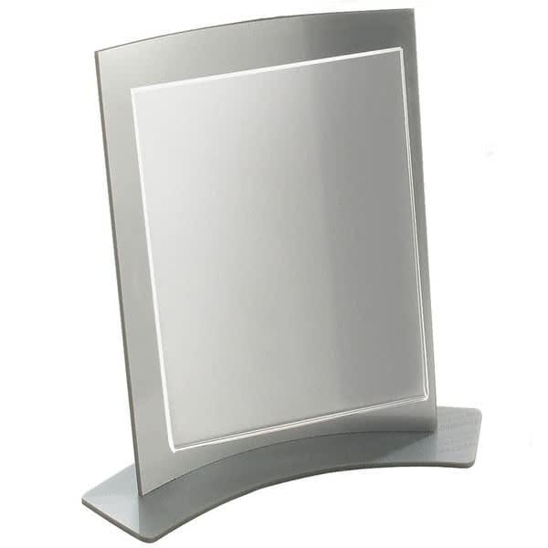 "Cal-Mil 829 Tabletop Menu Card Holder - 4.25"" x 5.5"", Acrylic, Silver"