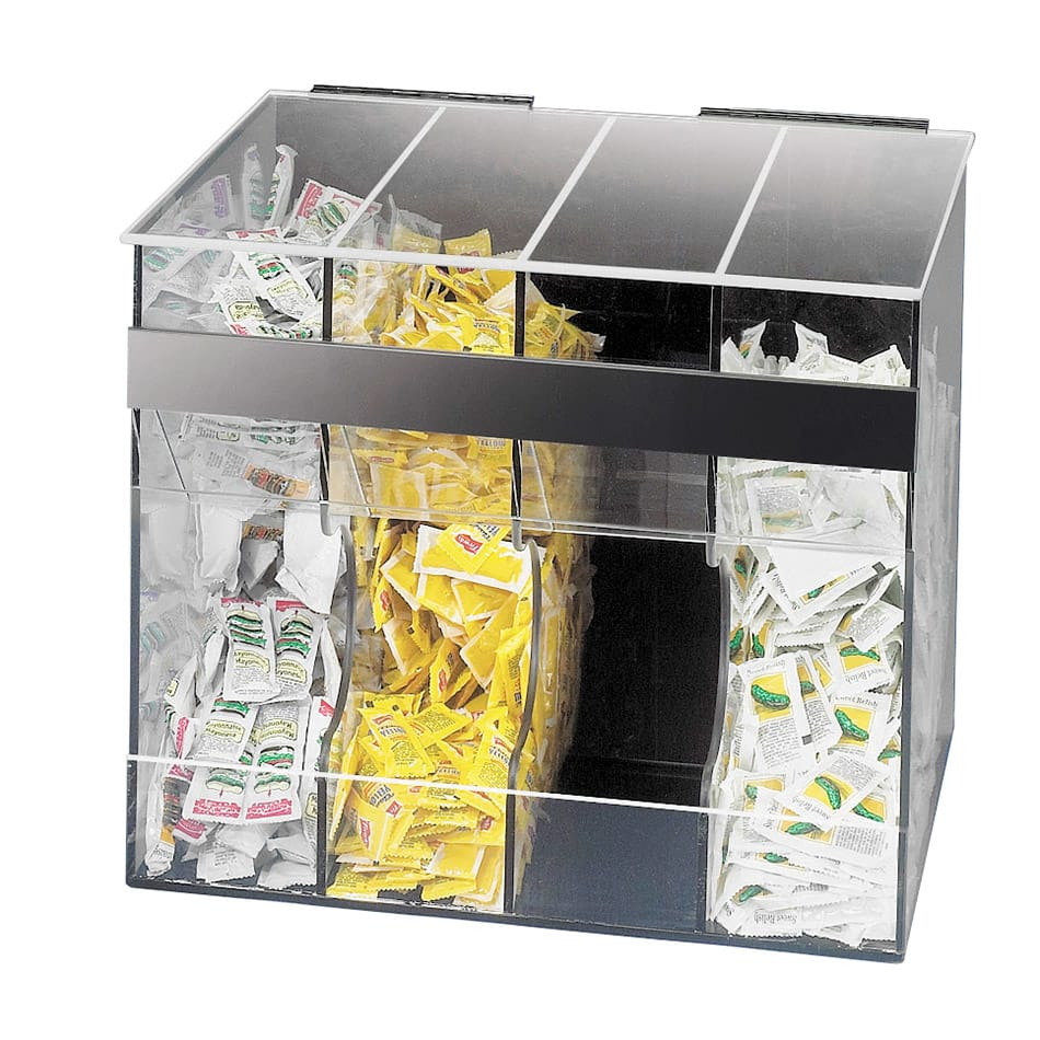 Cal-Mil 866 4 Section Condiment Pack Dispenser, Clear w/ Black Plastic Back