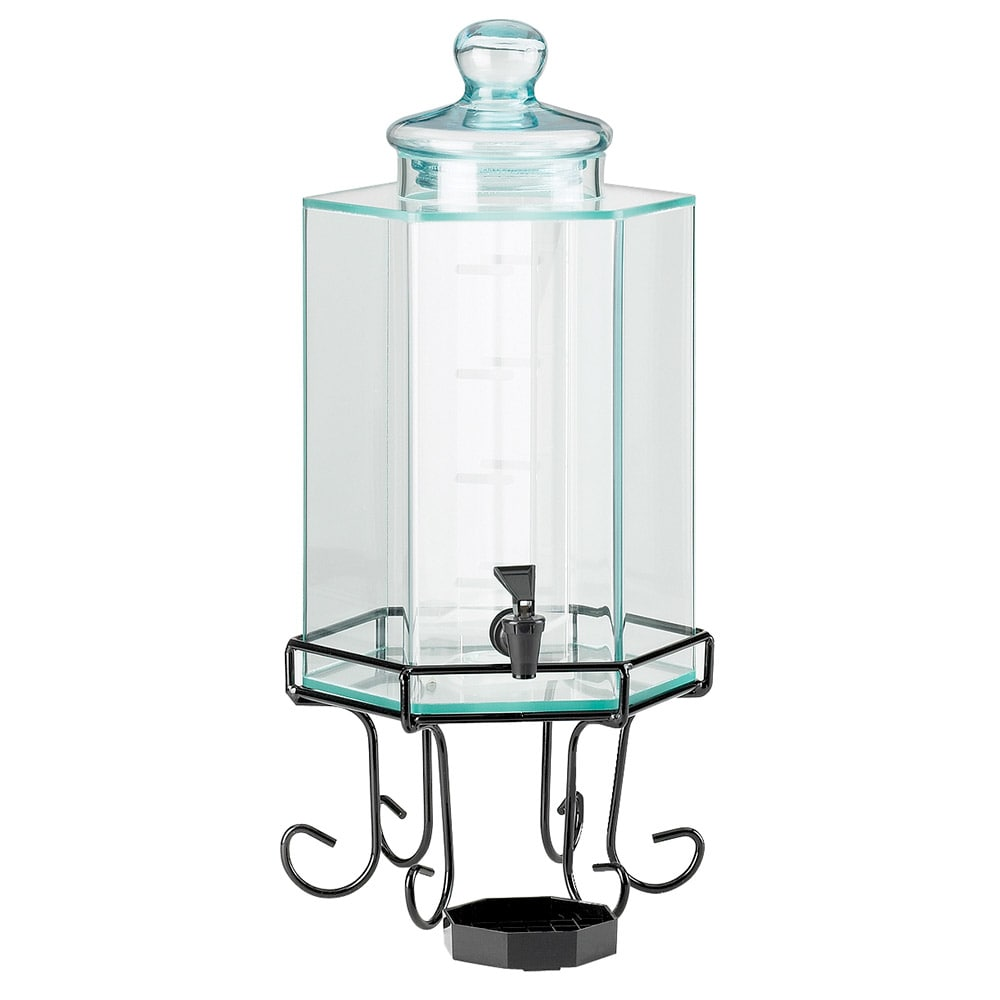 Cal-Mil 932-3 3 Gallon Octagon Beverage Dispenser w/ Ice Chamber & Black Base