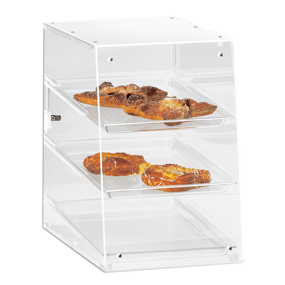 """Cal-Mil 941 Countertop Display Case w/ Rear Door & (3) 13 x 18"""" Trays, Clear"""